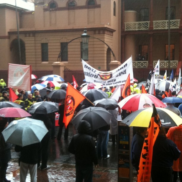 Firefighters @FBEU lead the workers comp rally to NSW Parliament – #ausunions say Shame Barry Shame