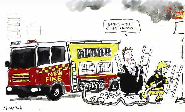 SMH cartoonist Alan Moir nails budget cuts @BarryOFarrell against #FRNSW and #FBEU | #Ausunions #NSWpol