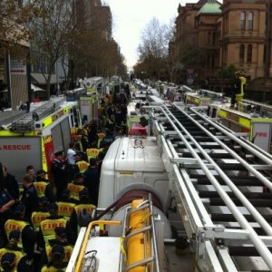 100 NSW fire trucks blockade NSW Parliament 210612